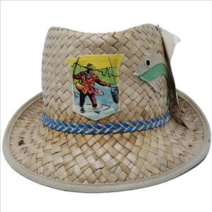 Vintage Trout Fisherman's Straw Hat Fedora One Sz